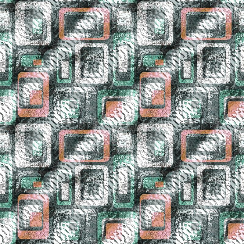 Seamless textured geometric pattern. Red, green shapes on black and white striped background. royalty free illustration