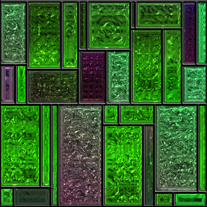 Seamless textured green stained glass panel vector illustration