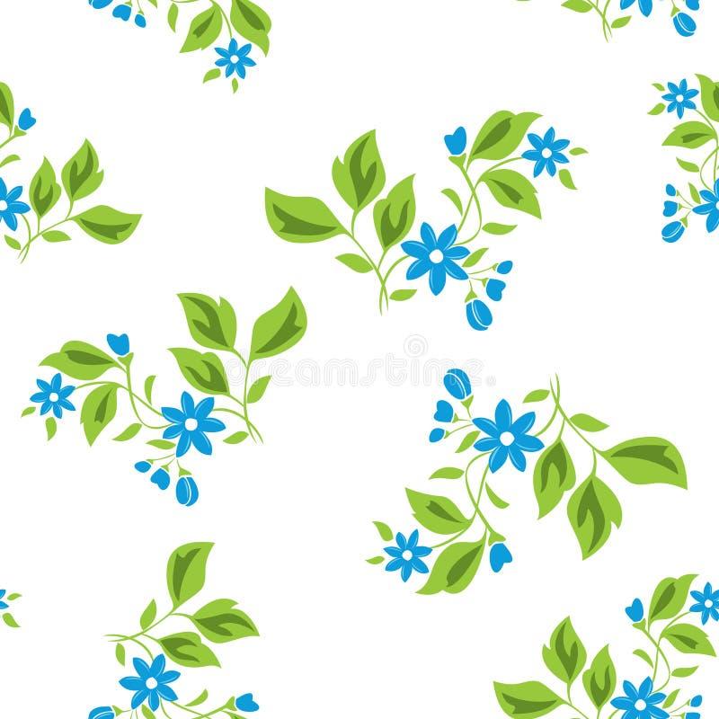 seamless texturvektor för blåa blom- blommor royaltyfri illustrationer