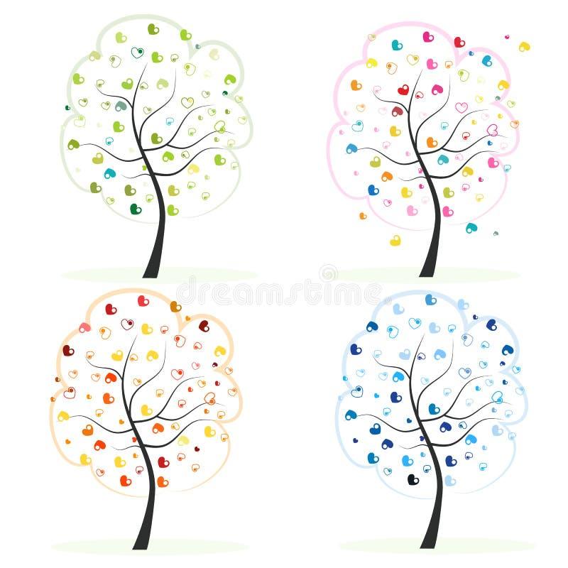seamless texturvektor för säsong fyra Gjort av hjärtaträd Vår höst, nedgång, illustration för sommarträdvektor royaltyfri illustrationer