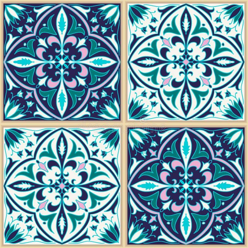 seamless texturvektor Härlig kulör modell för design och mode med dekorativa beståndsdelar stock illustrationer