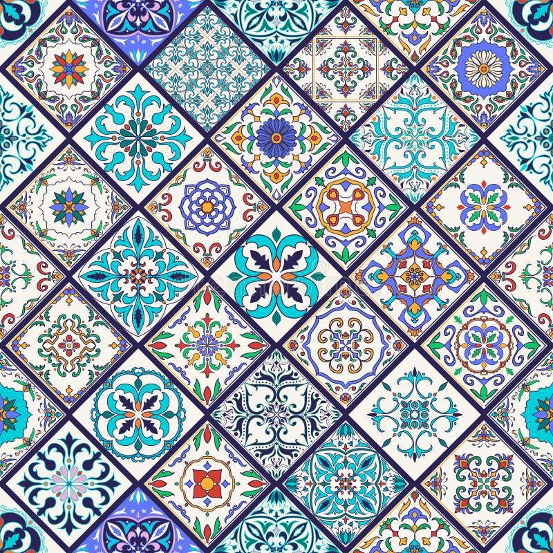 seamless texturvektor Härlig mega patchworkmodell för design och mode med dekorativa beståndsdelar royaltyfria bilder