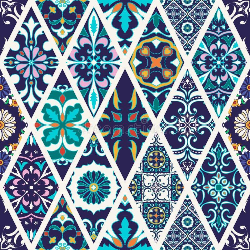 seamless texturvektor Härlig mega patchworkmodell för design och mode med dekorativa beståndsdelar royaltyfri illustrationer