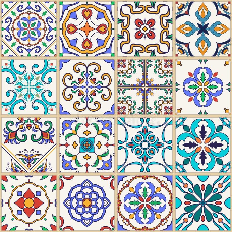 seamless texturvektor Härlig mega patchworkmodell för design och mode med dekorativa beståndsdelar stock illustrationer