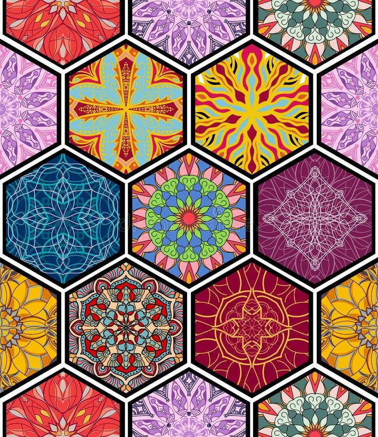 seamless texturvektor Härlig mega patchworkmosaikmodell royaltyfri illustrationer
