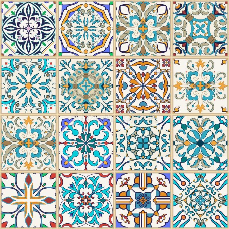 seamless texturvektor Härlig patchworkmodell för design och mode med dekorativa beståndsdelar royaltyfri illustrationer