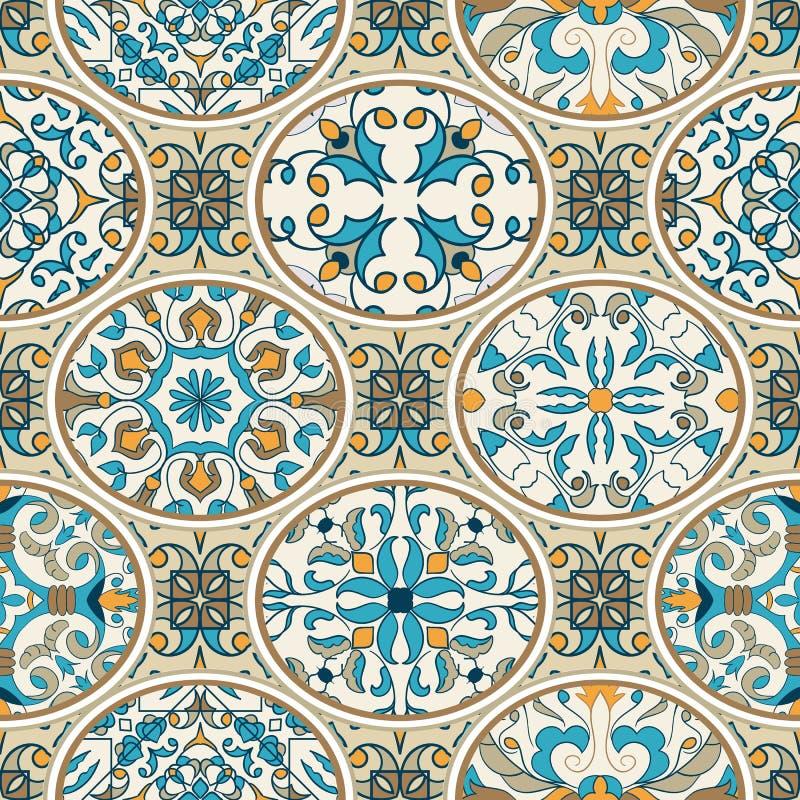 seamless texturvektor Härlig patchworkmodell för design och mode med dekorativa beståndsdelar vektor illustrationer