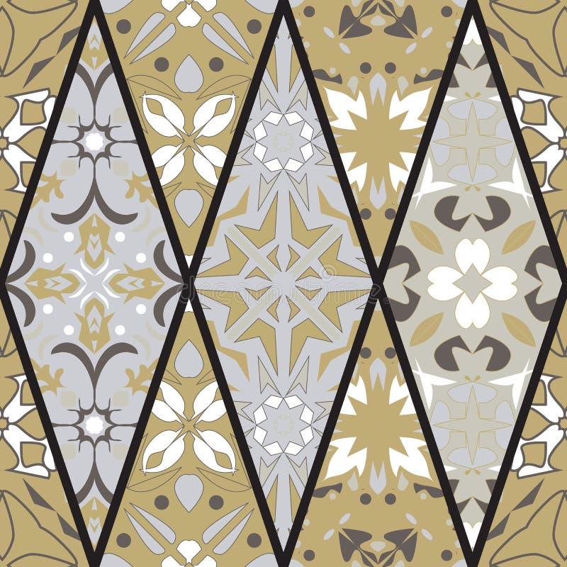 seamless texturvektor Mosaisk patchworkprydnad med rombbeståndsdelar Dekorativ modell för portugisiska azulejos stock illustrationer