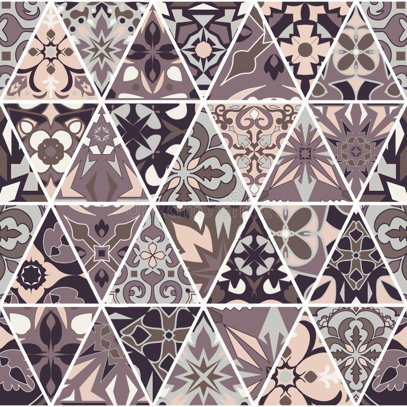 seamless texturvektor Mosaisk patchworkprydnad med triangelbeståndsdelar Dekorativ modell för portugisiska azulejos stock illustrationer