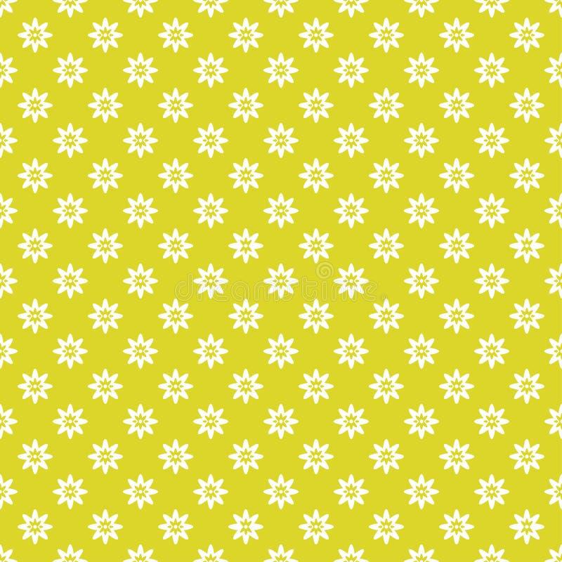 seamless texturvektor Små vita blommor på en gul bakgrund vektor illustrationer