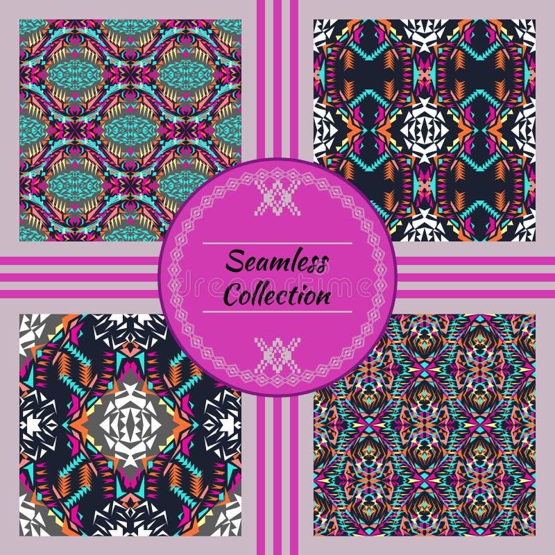 seamless texturvektor Uppsättning av stam- färgrika modeller för design Electro bohofärgtrend Aztec dekorativ stil vektor illustrationer