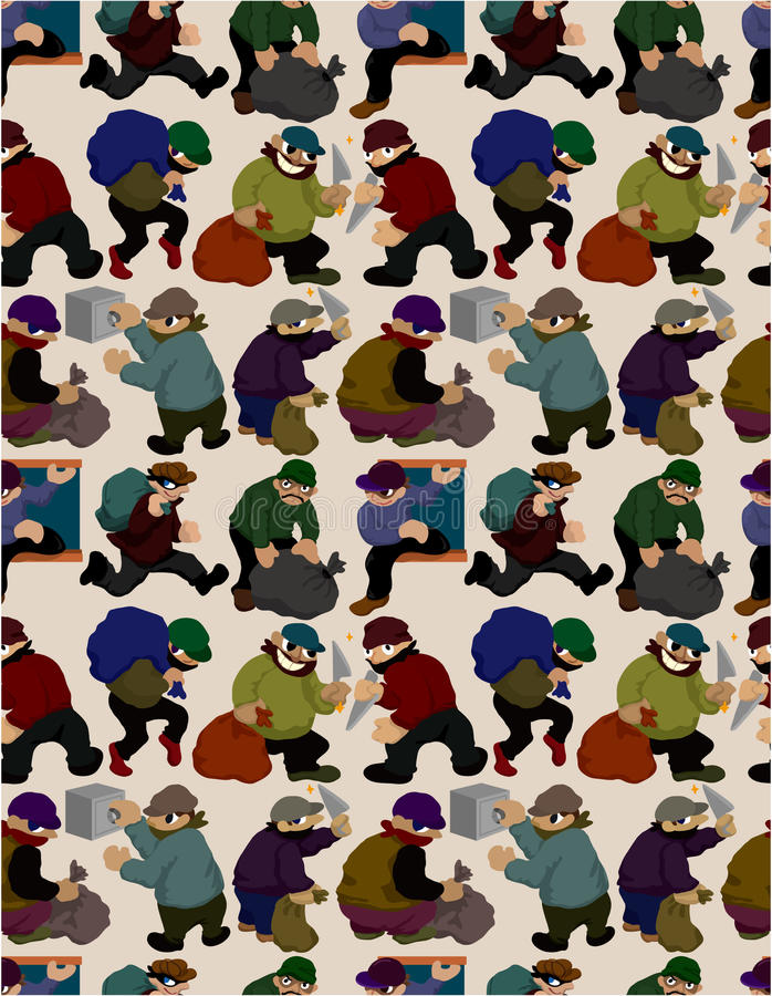 Download Seamless thief pattern stock vector. Image of gang, creative - 18326747