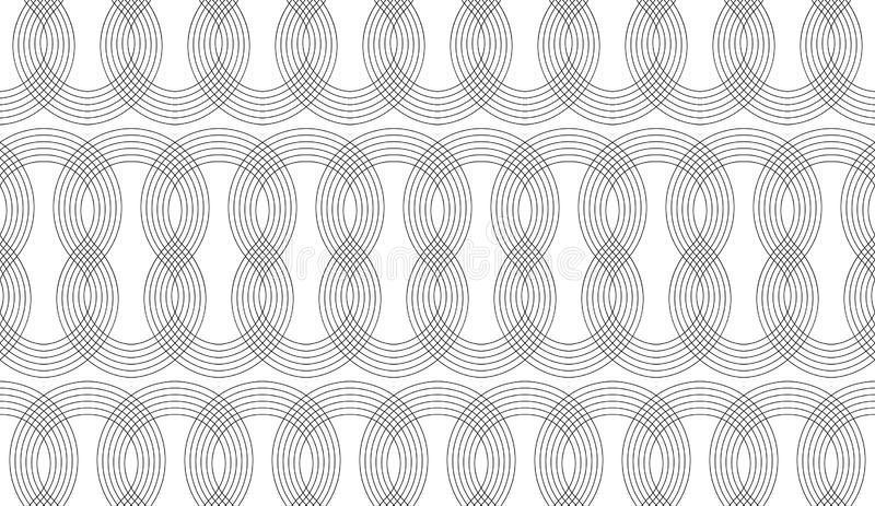 Seamless thin line curly pattern, screen print linear texture, monochrome texture of curved lines vector illustration