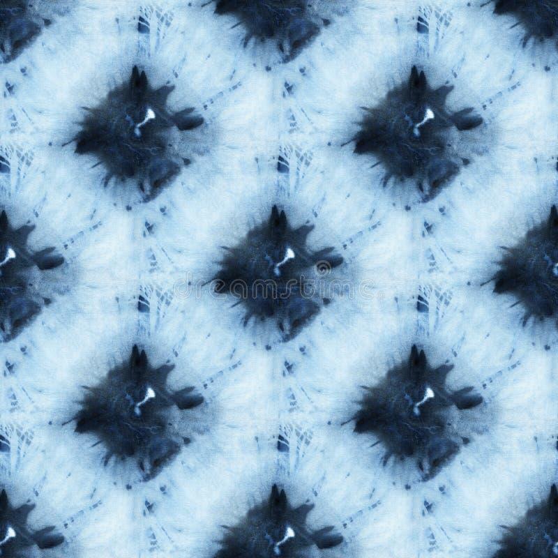 Seamless tie-dye pattern of indigo color on white silk. Hand painting fabrics - nodular batik. Shibori dyeing vector illustration