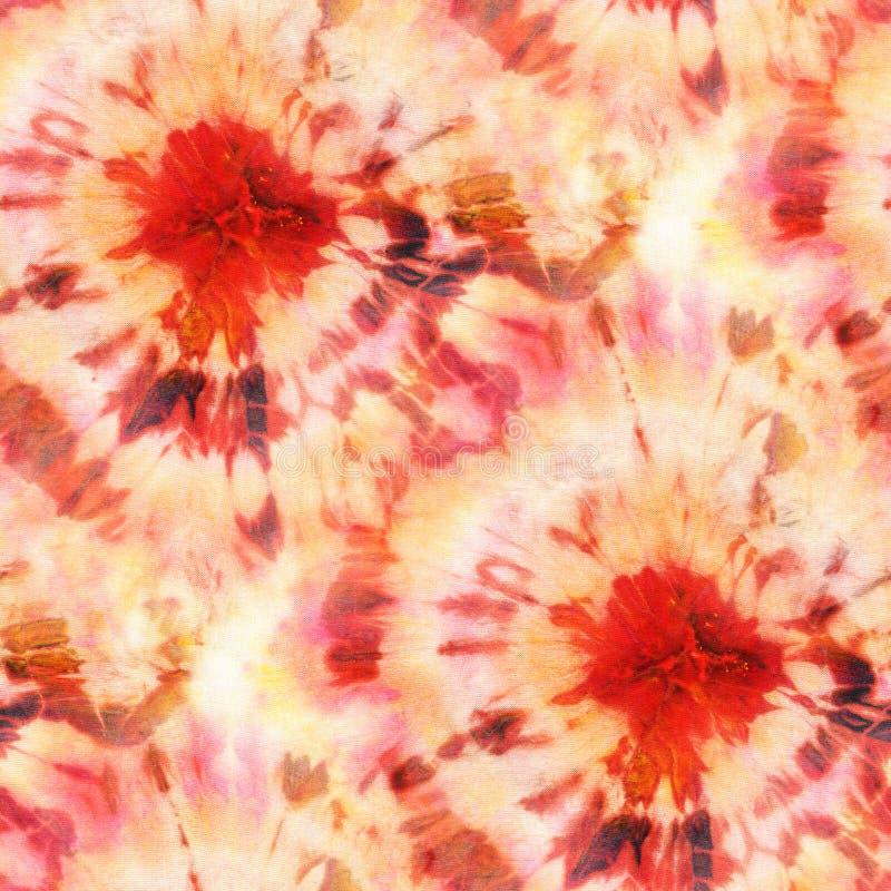 Seamless tie-dye pattern of orange color on white silk. Hand painting fabrics - nodular batik. Shibori dyeing stock illustration