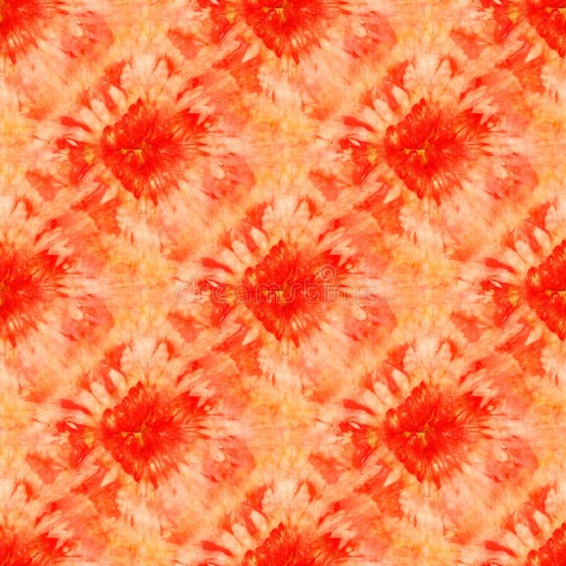 Seamless tie-dye pattern of red and orange color on white silk. Hand painting fabrics - nodular batik. Shibori dyeing stock illustration