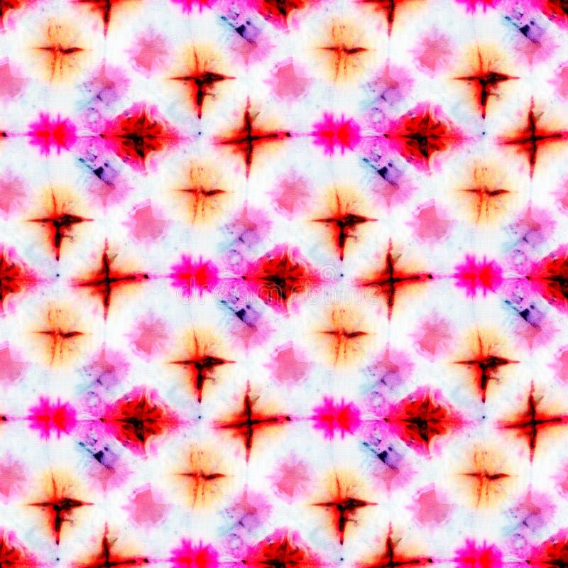 Seamless tie-dye pattern on white silk. Hand painting fabrics - nodular batik. Shibori dyeing stock illustration