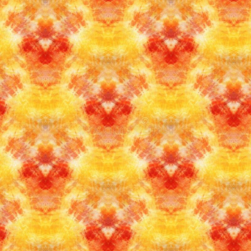 Tie Dye Background. Seamless tie-dye pattern of yellow and red  color on white silk. Hand painting fabrics - nodular batik. Shibori dyeing royalty free illustration