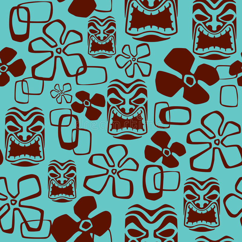 Seamless Tiki Mask Pattern. Illustration of a seamless Aloha Shirt pattern tile. Tile can be dragged and dropped into Illustrator's swatches palette
