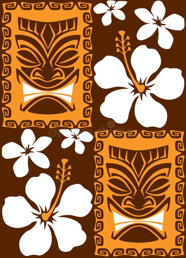 Download Seamless Tiki Tiles stock vector. Illustration of tropical - 15400048