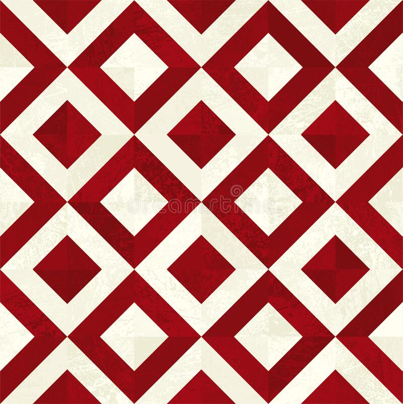 Seamless tile background in red and beige. Square tiles royalty free stock photo