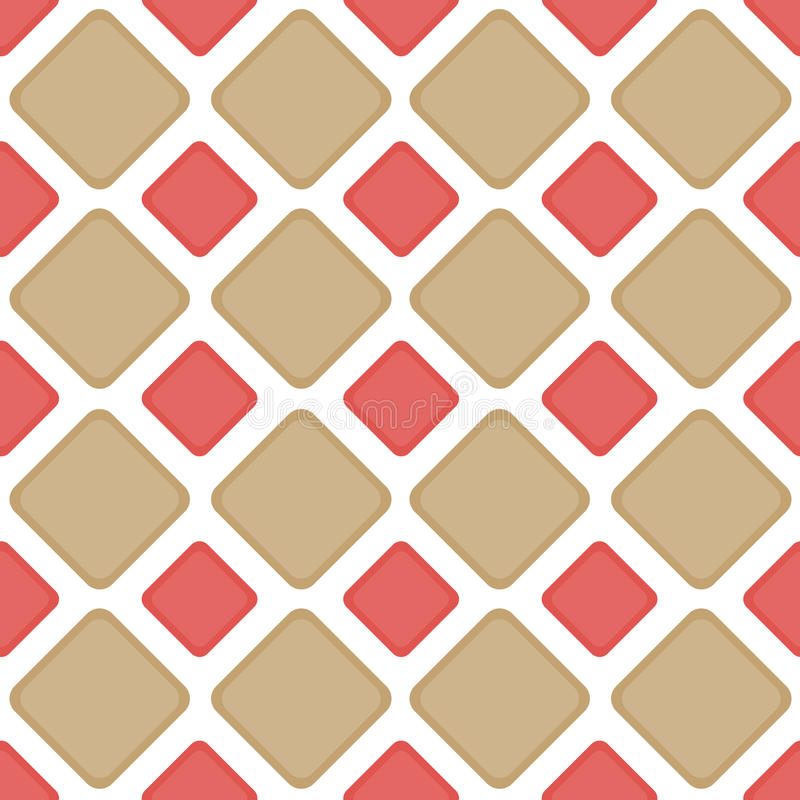 Seamless tile brick diamonds backgound pattern. Sand and cayenne brick diamonds or squares geometric pattern. Seamless Tile stock illustration