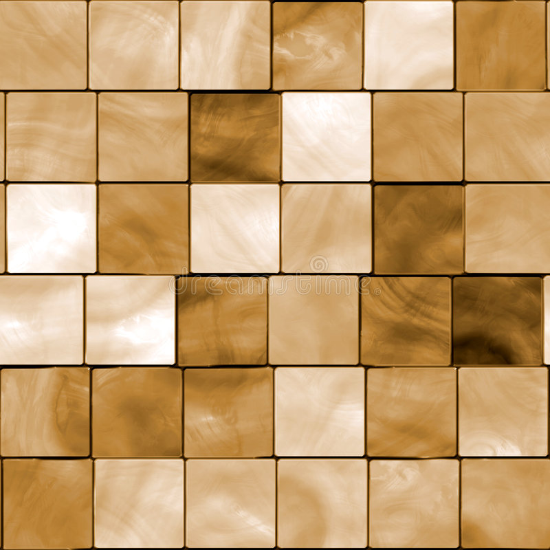 Seamless Tile Mosaic. Colorful seamless background mosaic design of shiny tile boxes or cubes in light brown, beige, tan wood tones. Can be tiled seamlessly royalty free illustration