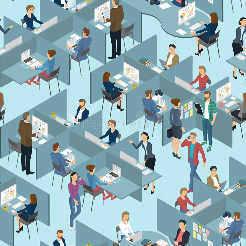 Seamless tile of people in the office office. Isometric 3d flat design vector standing and sitting people different characters, styles and professions, full stock illustration