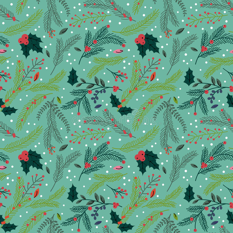 Seamless Tileable Christmas Holiday Floral Background Pattern royalty free illustration