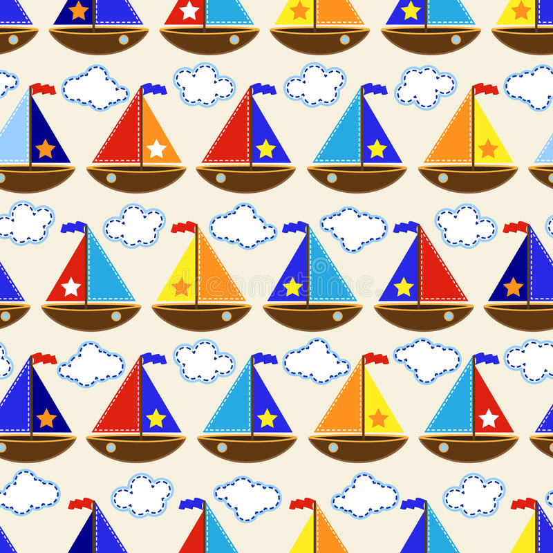 Download Seamless Tileable Nautical Themed Vector Background Or Wallpaper Stock Vector - Image: 43089496