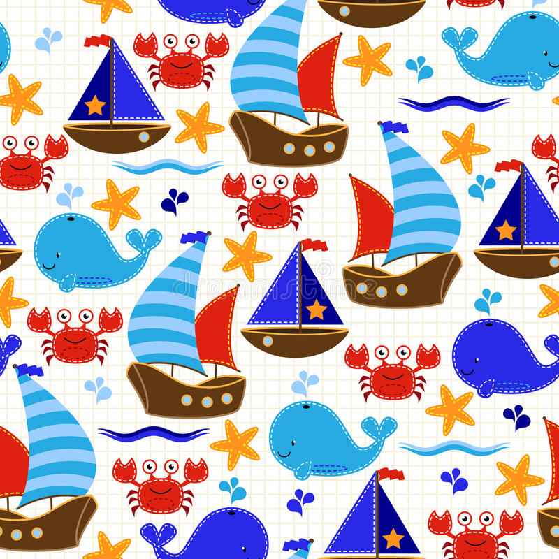 Download Seamless Tileable Nautical Themed Vector Background Or Wallpaper Stock Vector - Image: 43089550