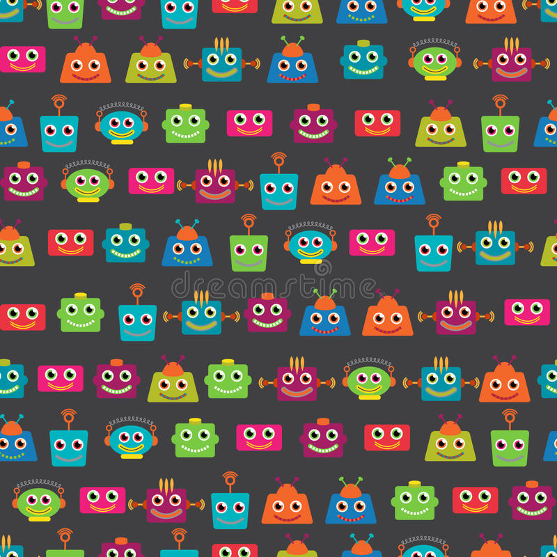 Seamless Tileable Vector Background Pattern with Cute Robots. Or Toys vector illustration