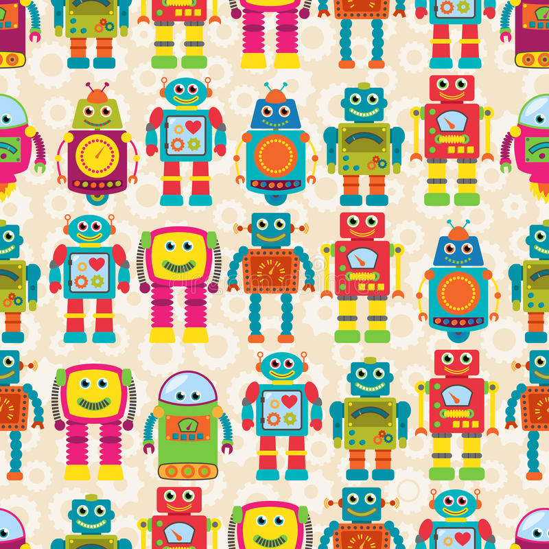 Seamless Tileable Vector Background Pattern with Cute Robots vector illustration