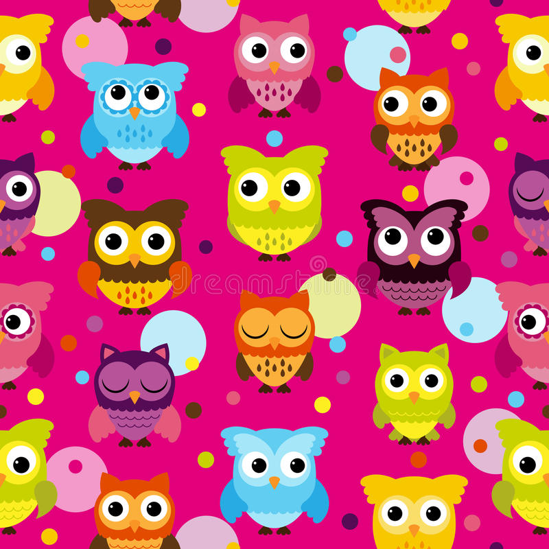 Seamless and Tileable Vector Owl Background Pattern. Bright Pink Seamless and Tileable Vector Owl Background Pattern royalty free illustration