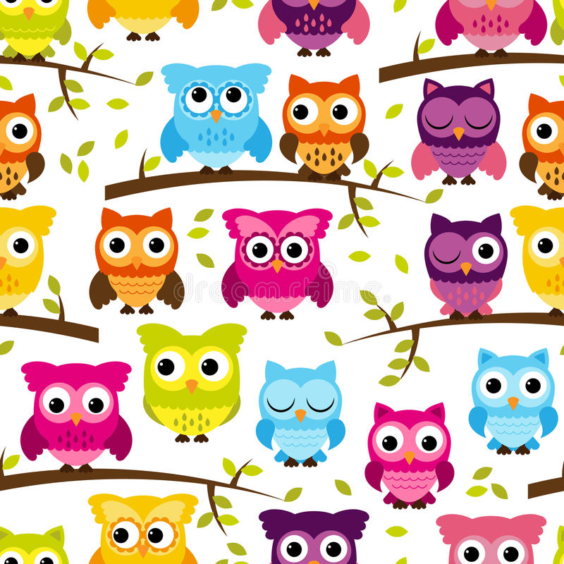 Seamless and Tileable Vector Owl Background Pattern vector illustration