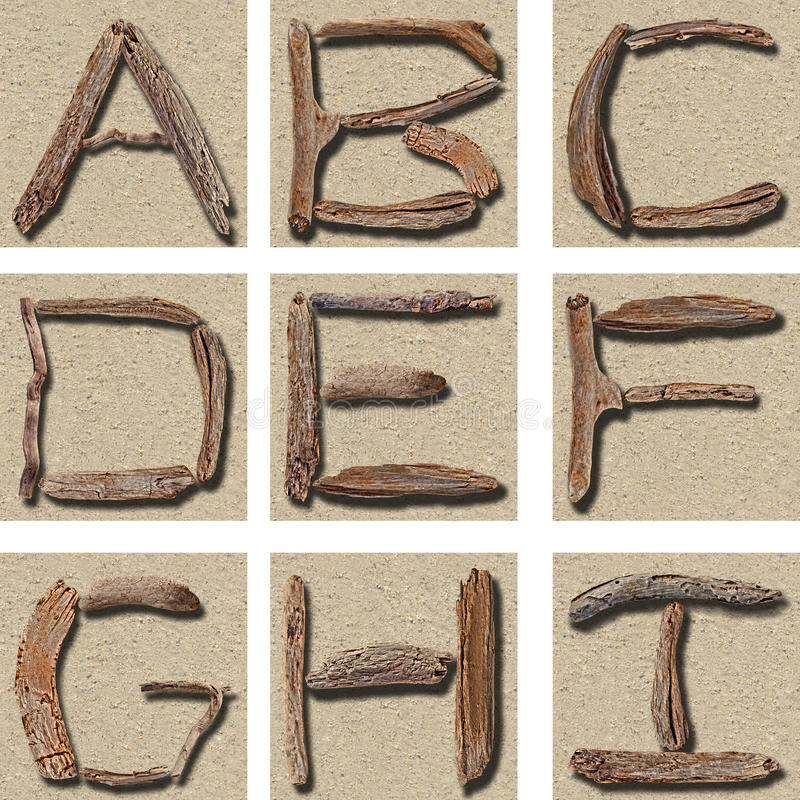Download Seamless Tiling Driftwood Alphabet A - I Stock Photo - Image: 16881130