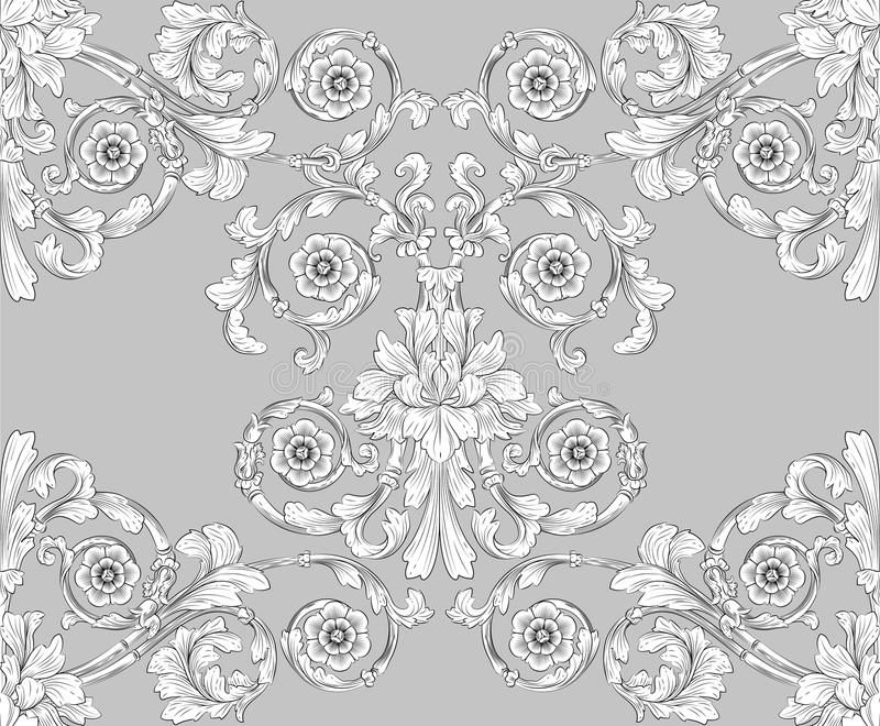 Seamless tiling floral wallpaper pattern royalty free illustration