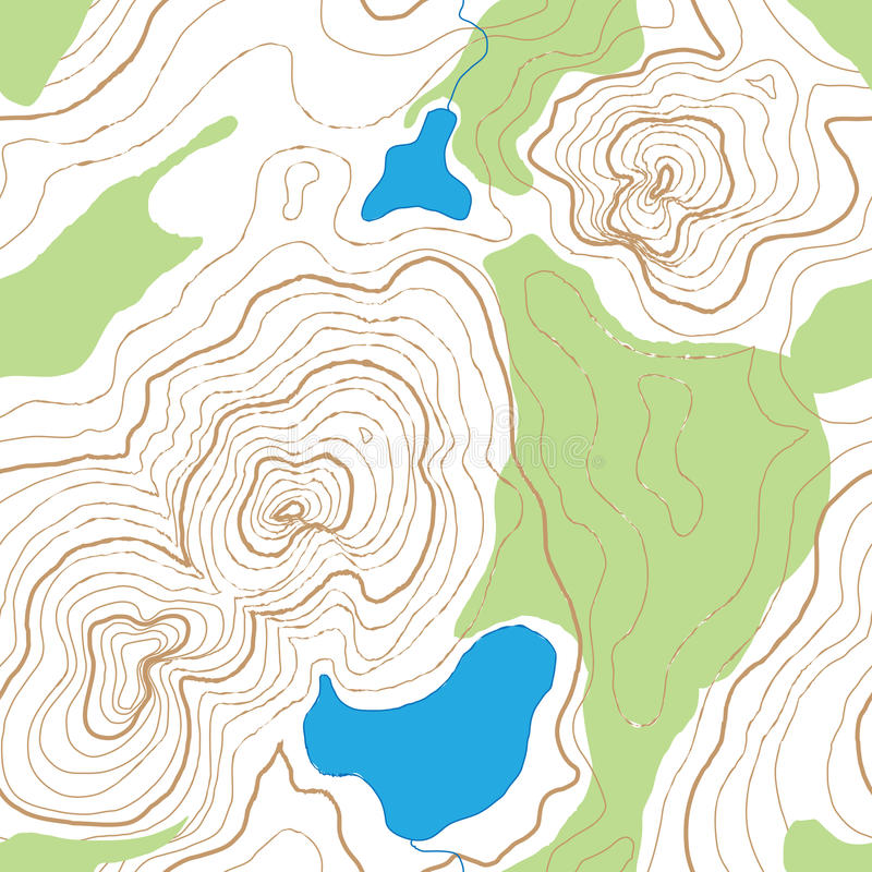 Seamless Topographic Map. A seamless rendition of a topographic map, with contour lines, of a mountainous area with lakes and forest, now try not to get lost stock illustration