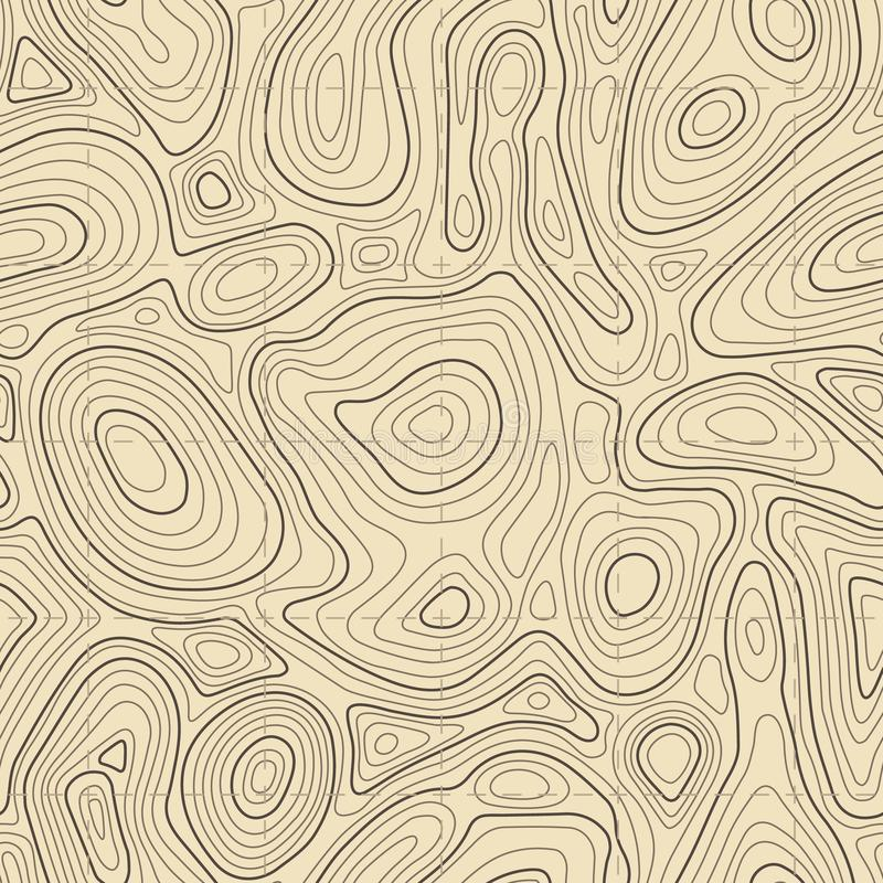 Seamless topographic map texture. Cartography elevation maps contour, contoured terrain lines vector background stock illustration