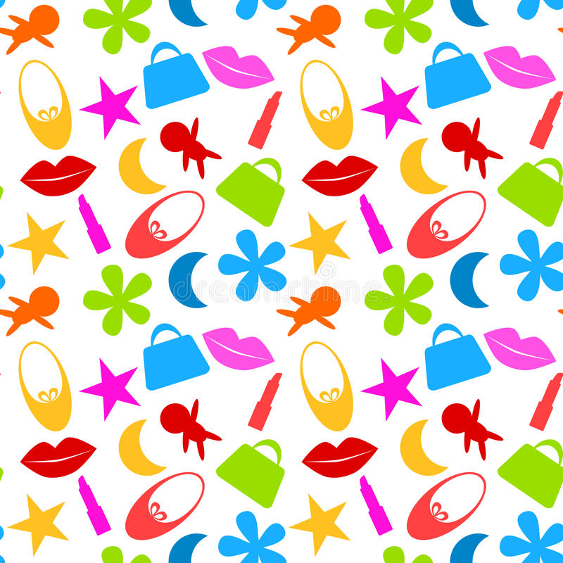 Seamless Toy Girl Icons Pattern royalty free illustration