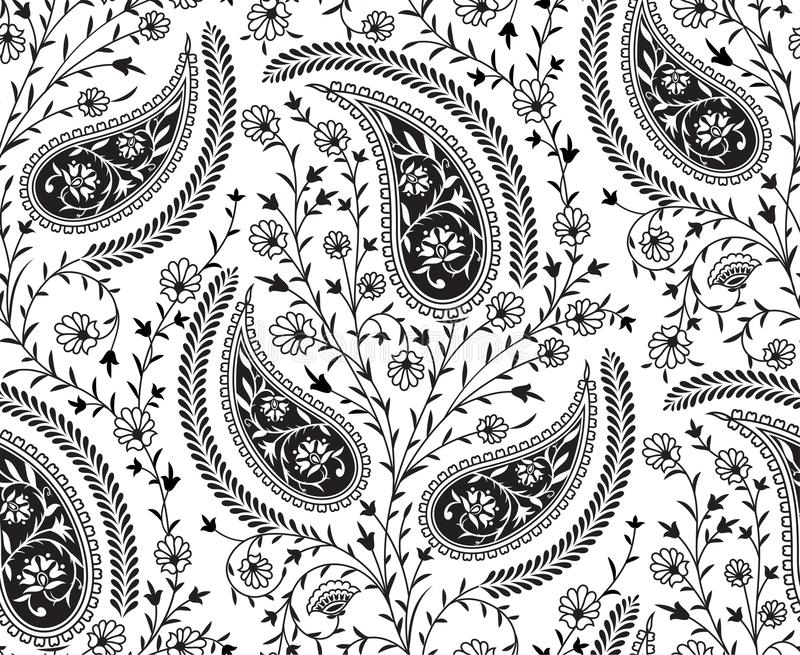 Seamless tradition Indian paisley pattern. Ethic black paisley seamless traditional pattern royalty free illustration