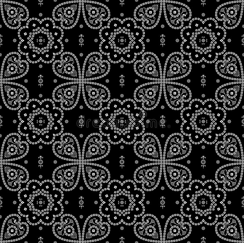 Seamless traditional bandanna pattern black and white. Nbackground vector illustration