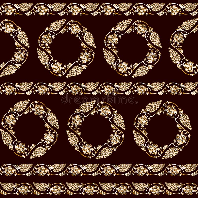Seamless traditional chinese pattern with floral ornament. In gold. Stock vector illustration royalty free illustration