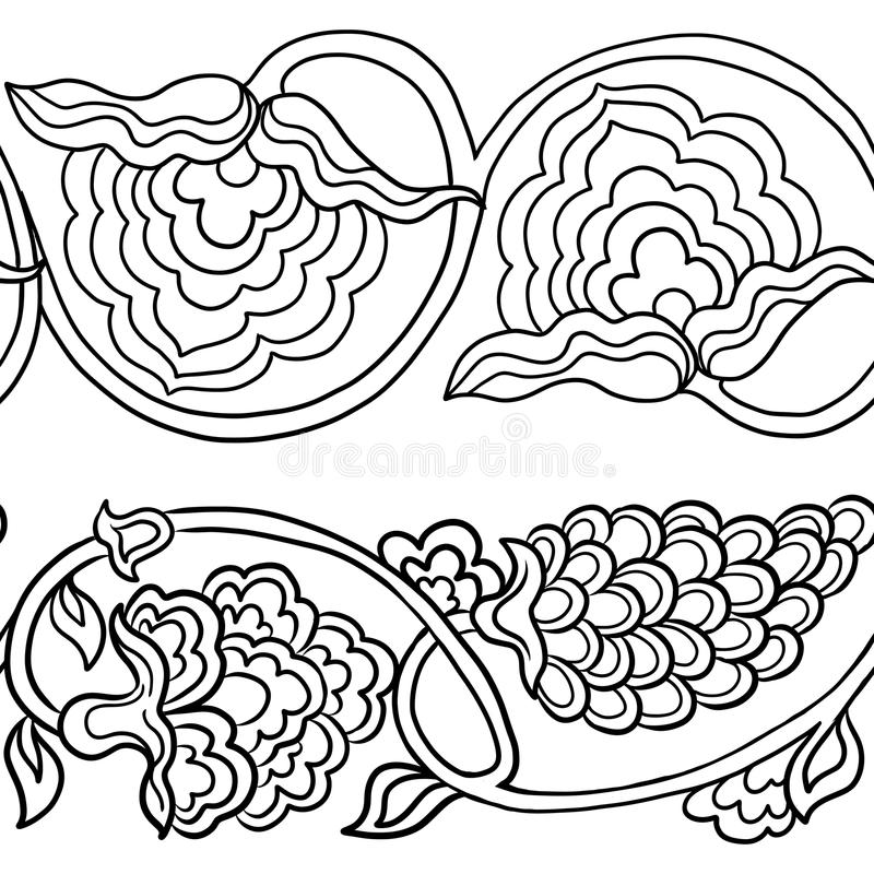 Seamless traditional chinese pattern with floral ornament. In outline. Stock vector illustration royalty free illustration