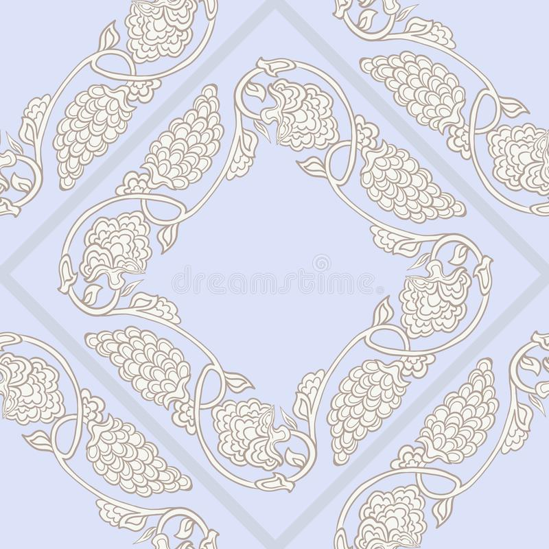 Seamless traditional chinese pattern with floral ornament. In vintage pastel colors. Stock vector illustration royalty free illustration