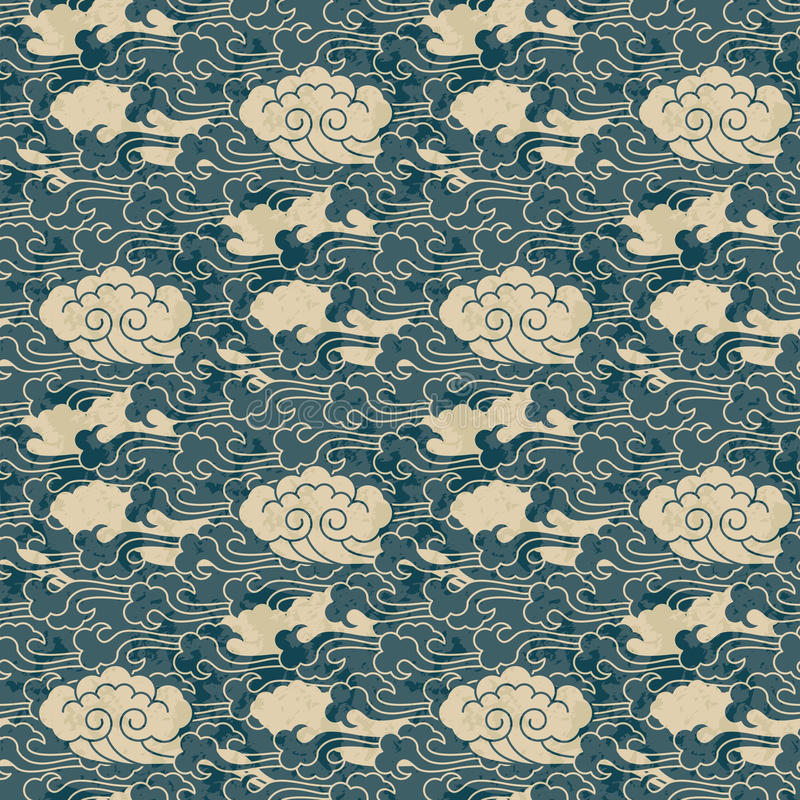 Seamless traditional cloud chinese pattern design stock illustration