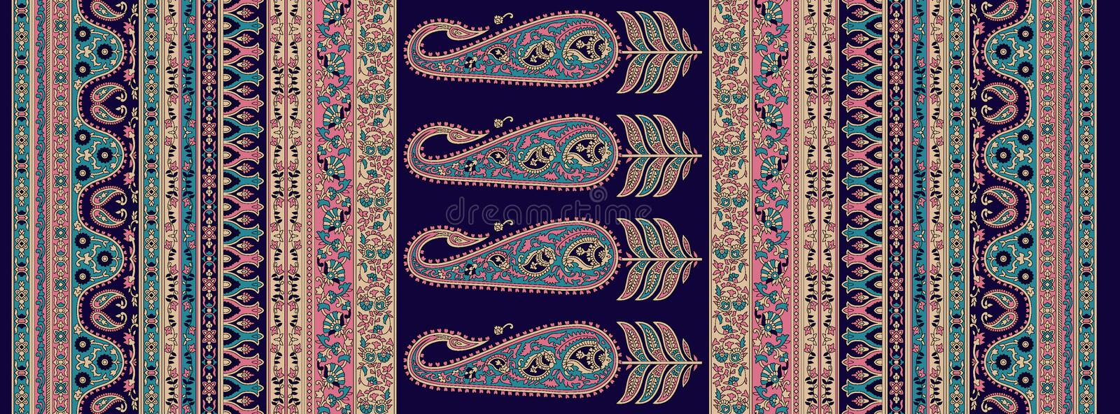 Seamless traditional design paisley background vector illustration