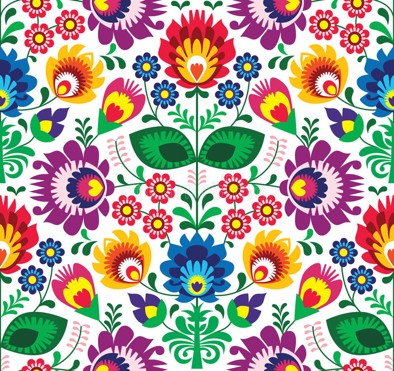 Seamless traditional floral polish pattern - ethnic background. Repetitive colorful background - polish folk art pattern stock illustration