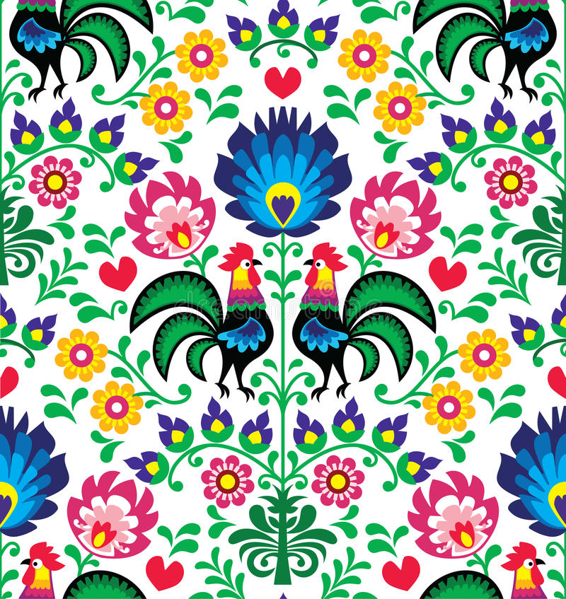 Seamless traditional floral Polish pattern with roosters - Wzory Łowickie. Repetitive colorful background - folk art print from Poland stock illustration