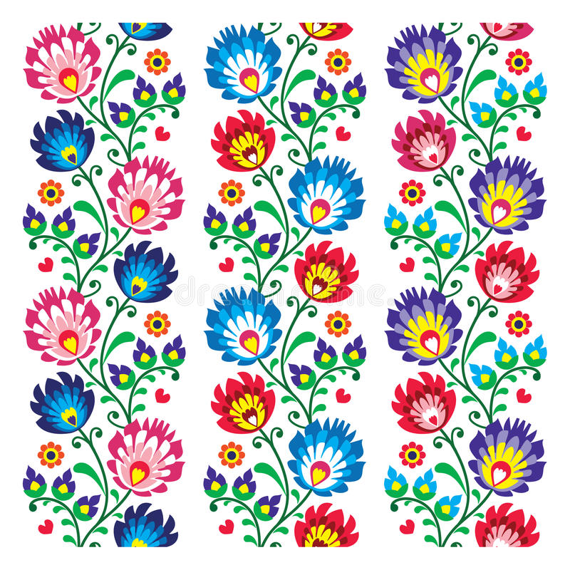 Seamless traditional folk polish pattern seamless. Repetitive colorful background, folk art prints from Poland - wzory lowickie vector illustration